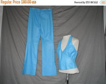 On Sale Hip Hugger Bell Bottom Sky Blue Leather Pants and Halter Top Size 2