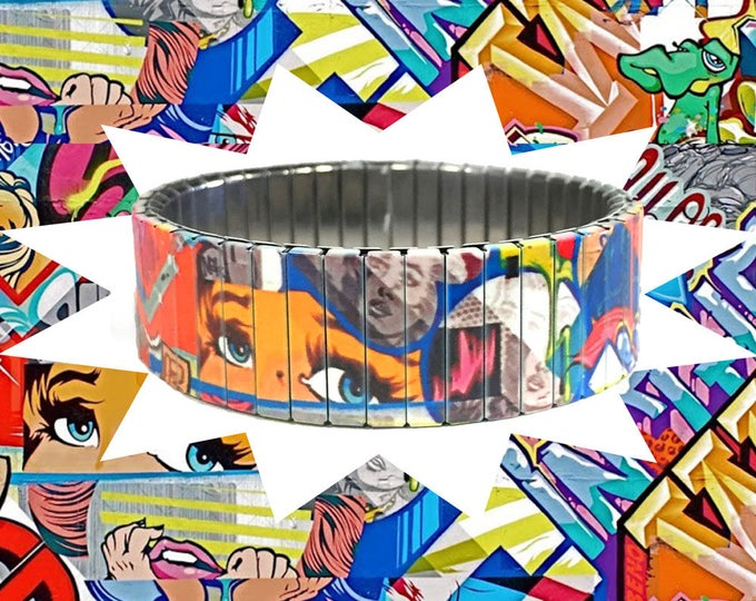 Comic Strip bracelet, Graffiti, Urban Art, Stainless Steel, Repurpose Watch Band, Stretch Bracelet, Sublimation, gift for friends