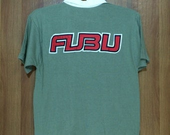 Vintage FUBU 92 World Championship Rugby Polo Spell Out Shirt Adult Medium Size