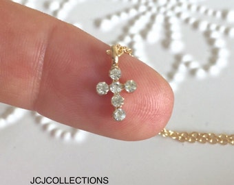 Tiny Gold Diamond CZ Necklace, Dainty, Simple