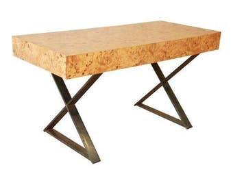 milo baughman burled olive wood campaign desk midcentury modern desk