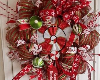 Christmas Wreath, Front Door Christmas Wreath, Christmas Decor, Deco Mesh Wreath, Wreaths for Christmas