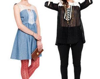 Anouk-Sieg Muster-Anouk Kleid-Anouk Top-Kleid-Medium Länge Kleid-Womans Tunika-Womans Top-Schnittmuster Pattern-Papier