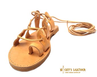 GLADIATOR SANDALS Lace up Sandals from 100 % Full Grain Leather
