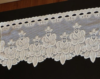 Beautiful Lace French Cafe Curtains.  Ornate flower cafe nets, French lace curtains.