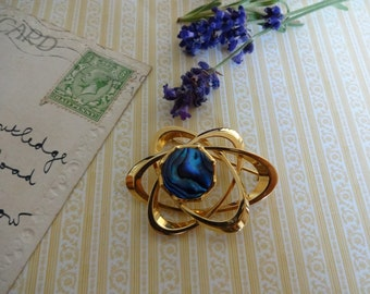 Vintage Abalone Brooch, Abalone Shell Brooch, Gold Blue Brooch, Modernist Shell Brooch