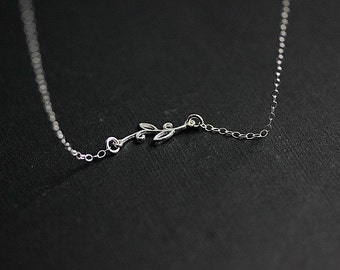 Branch necklace in Sterling Silver - Silver Leaf Branch  Necklace - Leaf Branch necklace - Leaf jewelry - Leaf Jewellery - Delicate Necklace