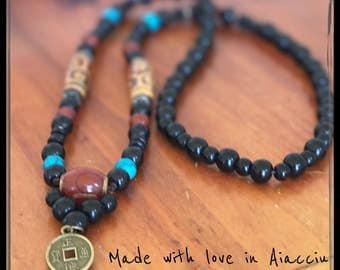 Necklace bracelet mala Buddhist agathe and traditional onyx pearls