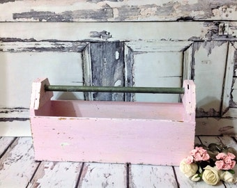 Vintage Industrial Rustic Shabby Chic Chippy Pink Painted Wooden Tool Caddy or Tool Box