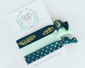 Feather hair ties, teal hair bands, hair ribbons, hair accessories, hair tie bracelet, yoga hairties, ponytail holders, knotted hair ties