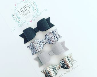 Grey hair bows, sparkly hair clips, wool felt hair bows, silver hair slides, school hair clips, glittery baby headbands, women's hair bows