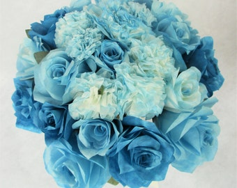 Picture Petfect French Blue paper flowers, one of a kind, Bridal Bouquet, Keepsake Bouquet, Rose & Carnation Bouquet