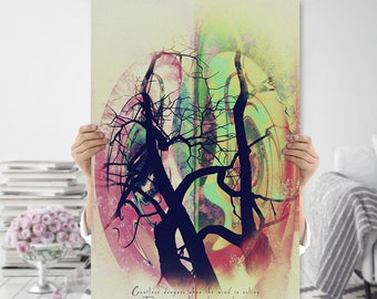 Boho Art Printable - Abstract Tree Wall Art- Meditation Art - Sacred Space - Eclectic Decor - Tree Print - Bohemian Art Print