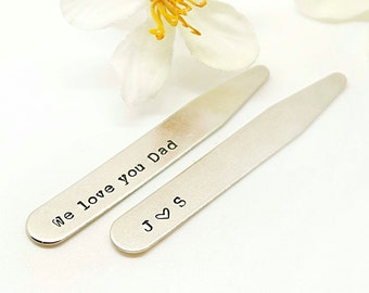 Personalized Collar Stays, Custom collar stays, Hand stamped men's collar stay, mens gift, wedding- Best gift for men- husband, boyfriend