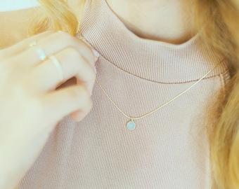 Edelstein Halskette - kleine Halskette - Chalcedon Halskette - zierliche Goldkette