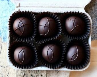 6 Piece Truffle Box (Organic, Fair Trade, Dark Chocolate, Soy free, Holiday, Vermont, New England, Handmade, Gift, Treat)
