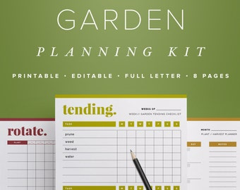 Garden Planning Kit, Editable Garden Calendars & Crop Planner, Garden Journal, Outdoor Planner  //  Household PDF Printables