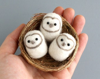 DIY Kit - Three Barn Owls in a Nest Needle Felting Kit - Needle Felted Animal Kit