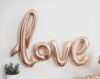 SALE!!Love script foil balloon Rose Gold - birthday balloon - love balloon - valentine - party decor - bridal shower - engagement decor