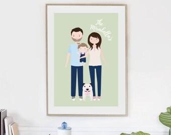 Custom Family Portrait illustration | Personalised Digital Illustration | Fathers Day Gift | Digital Portrait