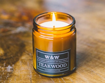 SALE!! Teakwood - 9oz Pure Soy Wax Candle in Amber Jar with Lid