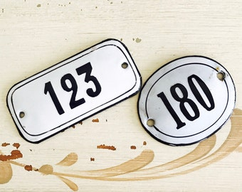 Vintage French Enamel House/Apt Number Tag/French Country Style