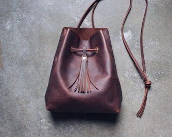 braune Leder Beuteltasche, Leder Shopper, Leder Tasche, Ledertasche, boho, bucket bag