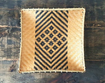 Vintage geometric woven basket tray, wall hanging, tribal style basket 10.5""