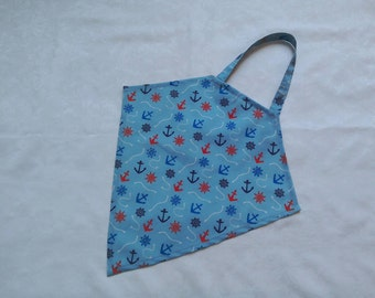 Large bib, adult bib, napkin, mealtimes, dignity bib, clothes protection, washable, reusable, blue, nautical