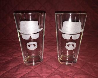 2 Hand Etched Heisenberg Pint Glasses!