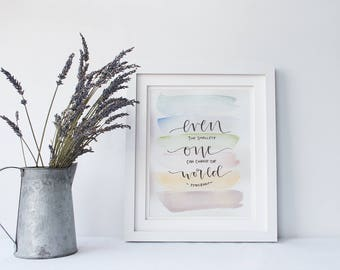 Watercolor and Hand lettered Quote Painting/ Peter Rabbit Quote/ Nursery Decor/ Even The Smallest 8x10
