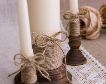 Rustic Wedding Candles Rustic Unity Candle Set Wedding Unity Candle Wedding Unity Twine Wedding Candles