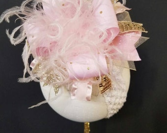 Baby Pink And Gold Over The Top Boutique Hairbow Headband Ostrich Feather