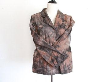 Lightweight Tie Dye Cotton Jacket - Spring Jacket - Fall Jacket - Upcycled Jacket - Size XL - Altered Jacket  - Eco Dyed