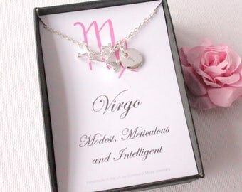 virgo constellation jewelery, virgo gift, virgo pendant, virgo star sign, virgo, zodiac sign necklace, astrology necklace
