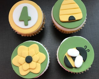 12 Bumblebee Cupcake Toppers-Fondant