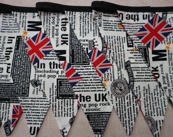 1970's Newspaper Print Bunting, Bunting, Funky Bunting, 1970s party, party bunting, Union Jack Bunting, Black and white bunting