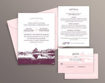 Memphis, Tennessee City Skyline 5-Piece Wedding Invitation Package