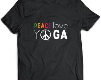 Peace Love Yoga T-Shirt. Peace Love Yoga tee present. Peace Love Yoga tshirt gift idea. - Proudly Made in the USA!