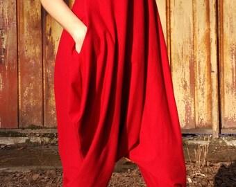 Red jumpsuit/ Women Jumpsuit/ Cotton Union Suit/ Loose Casual Drop Crotch Harem Pants