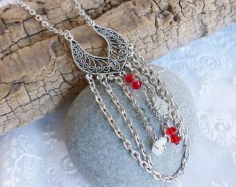 Bracelet wrap shamballa pearls and natural stones spirit bohemian blue gold silver waxed cord