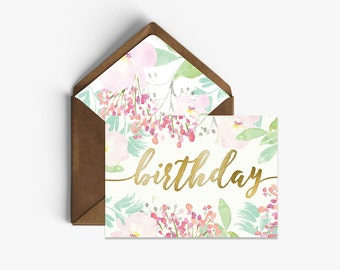 Birthday Real Foil Card + Kraft Envelopes --- B001