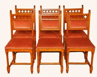 6 Dining Chairs, Vintage Gothic, 1920's, Clean Simple Lines, Upholstered Seats #8064