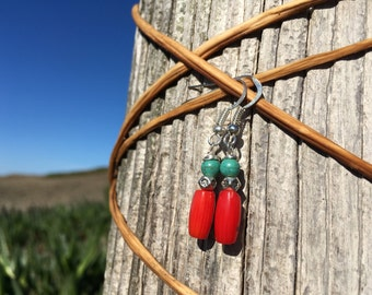 Red coral earrings, bohemian jewelry, blue turquoise and coral dangle earrings, silver coral turquoise boho earrings, southwestern jewelry