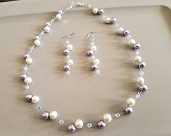 Lavender and ivory glass pearls jewerly set