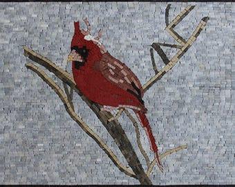 Mini Red Cardinal Bird Handmade Home Decoration Marble Mosaic AN1864