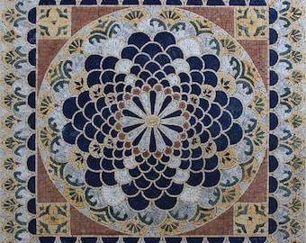 Square Majestic Oriental Arabesque Design Marble Mosaic GEO2699