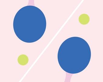 "Wall Art Print, ""Ping and Pong"" Print, Sports Print, Modern Wall Art, Pastel Print"