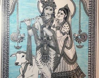 Radha Krishna art print home decor art print