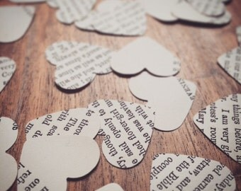Vintage, Music, Heart Confetti - Rustic Wedding Party or Bridal Shower Confetti, Table Decorations